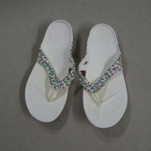 CROCS Comfortable Flamingo Flip Flops Size W7